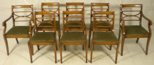Set of Eight Light Mahogany Dining Chairs bu Rackstraw